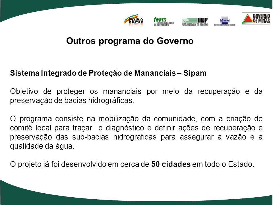 Outros programa do Governo Sistema Integrado de Proteção de Mananciais – Sipam Objetivo de proteger os mananciais por meio da recuperação e da preservação de bacias hidrográficas.