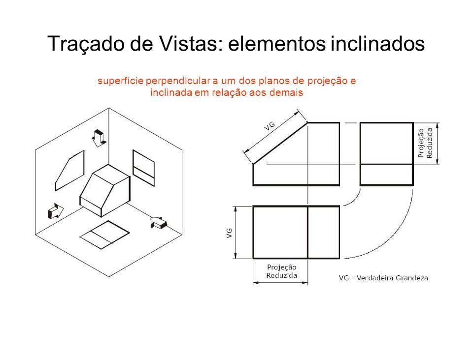 Traçado de Vistas: elementos inclinados superfície perpendicular a um dos planos de projeção e inclinada em relação aos demais