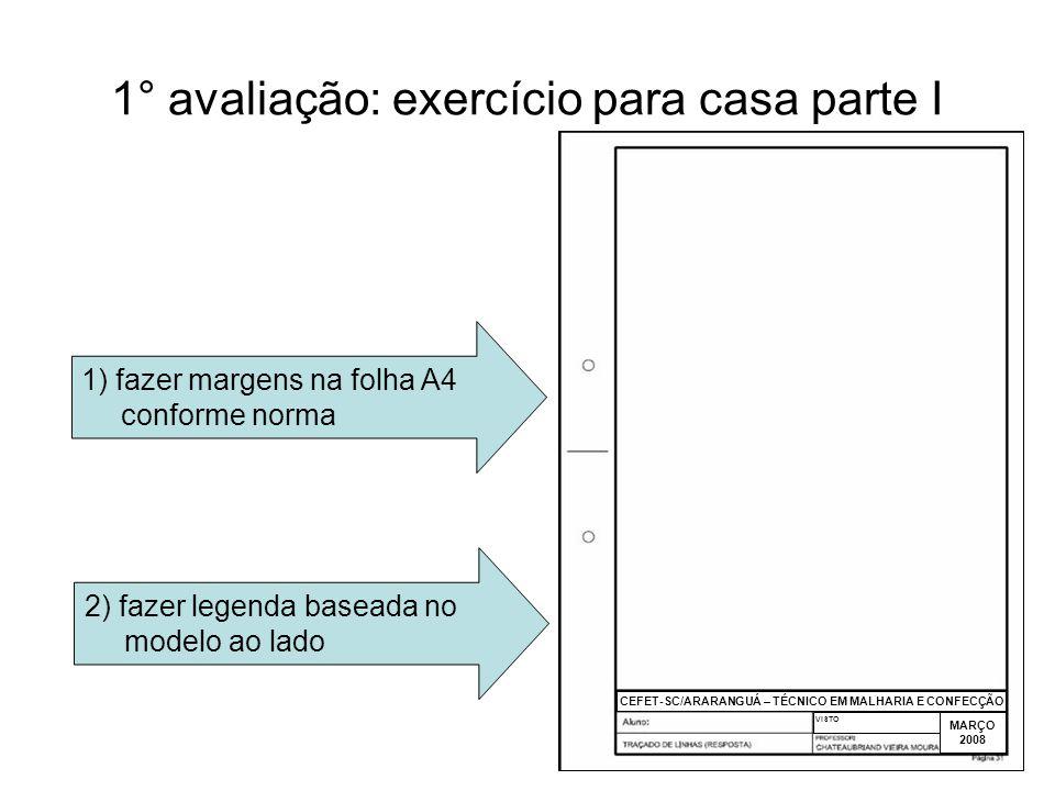 3 1° avaliação: exercício para casa parte I 3) dividir o espaço útil na folha conforme os quadros ao lado 4) executar os exercícios de traçado conforme modelo ao lado CEFET-SC/ARARANGUÁ – TÉCNICO EM MALHARIA E CONFECÇÃO MARÇO 2008