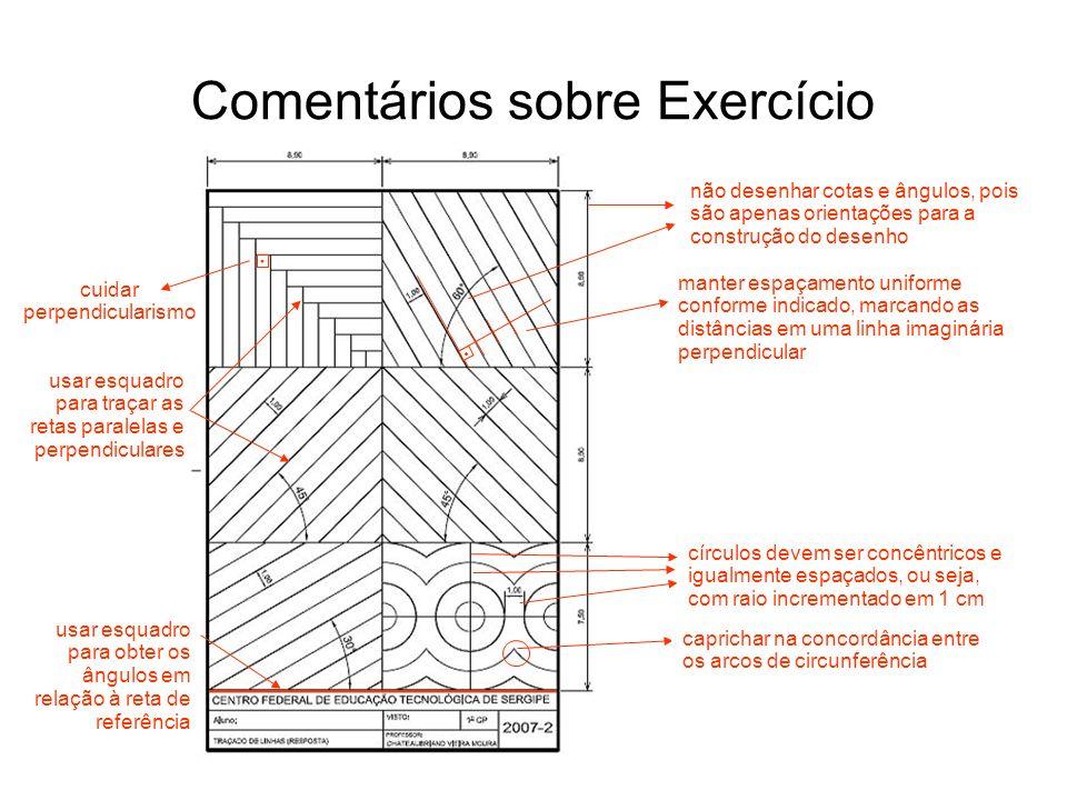 Comentários sobre Exercício não desenhar cotas e ângulos, pois são apenas orientações para a construção do desenho manter espaçamento uniforme conform