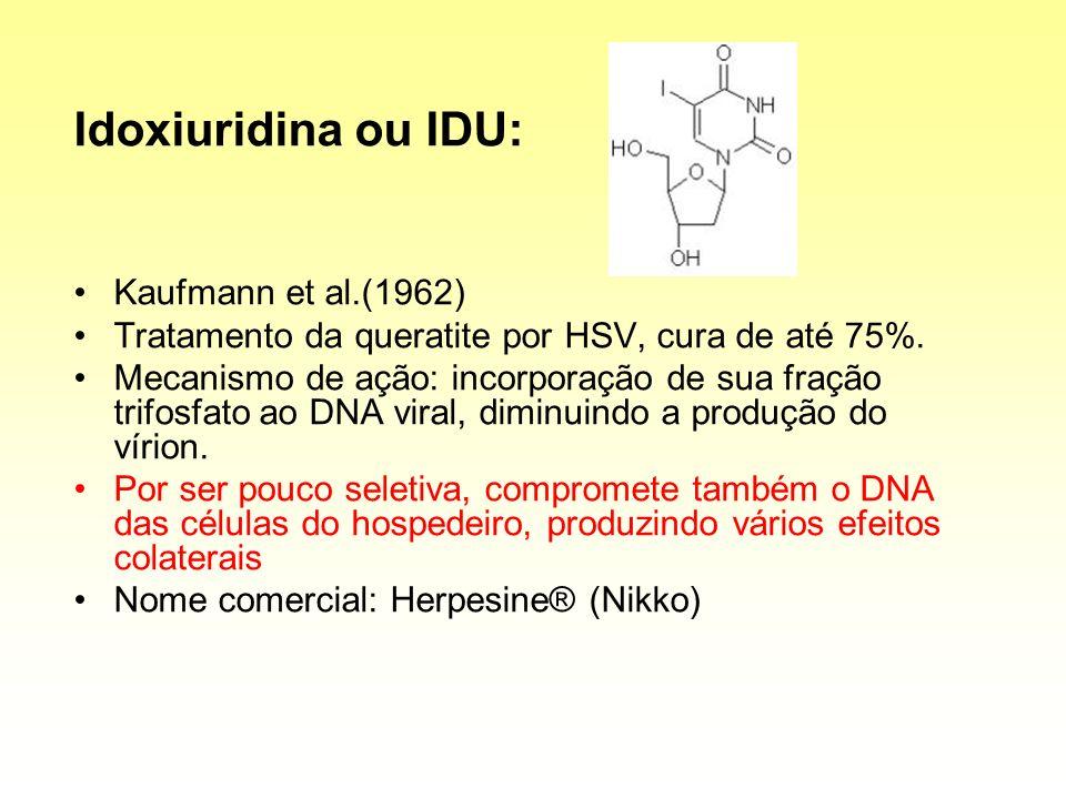 Idoxiuridina ou IDU: Kaufmann et al.(1962) Tratamento da queratite por HSV, cura de até 75%. Mecanismo de ação: incorporação de sua fração trifosfato