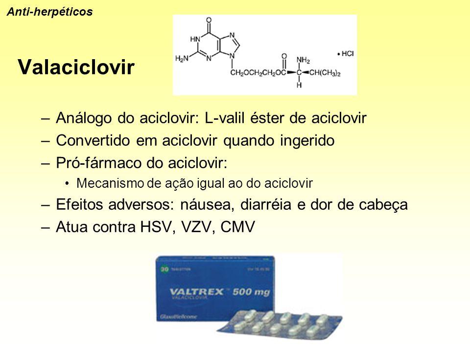 Valaciclovir –Análogo do aciclovir: L-valil éster de aciclovir –Convertido em aciclovir quando ingerido –Pró-fármaco do aciclovir: Mecanismo de ação i