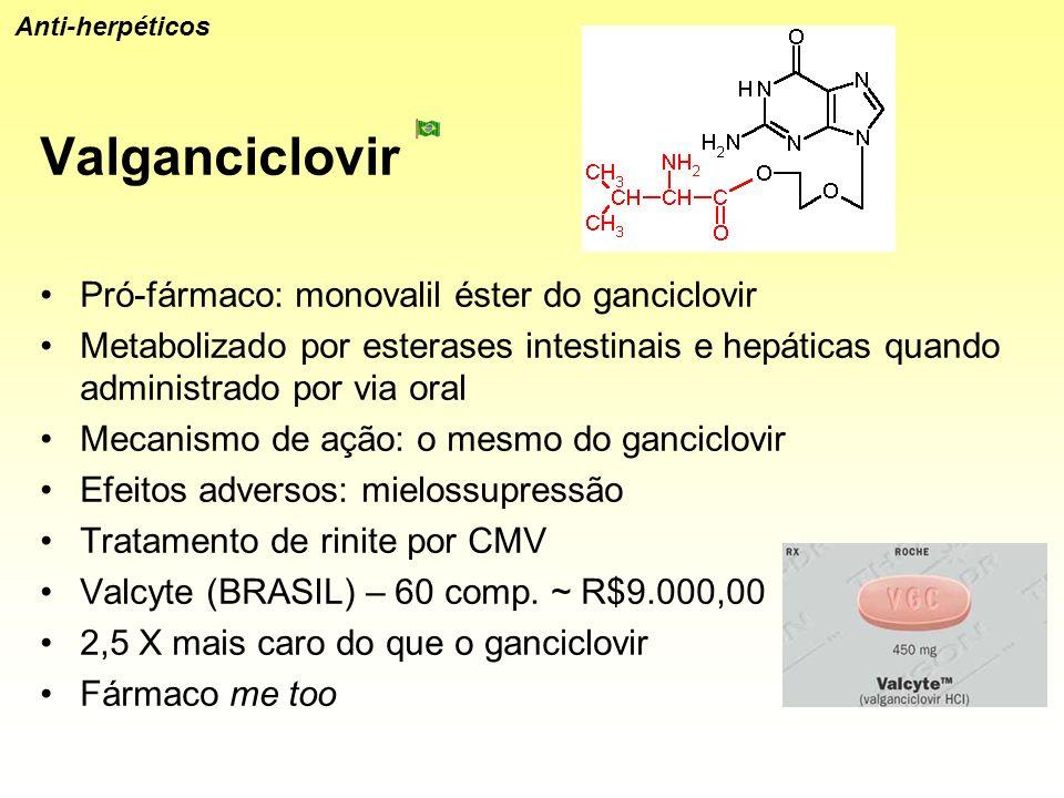 Valganciclovir Pró-fármaco: monovalil éster do ganciclovir Metabolizado por esterases intestinais e hepáticas quando administrado por via oral Mecanis