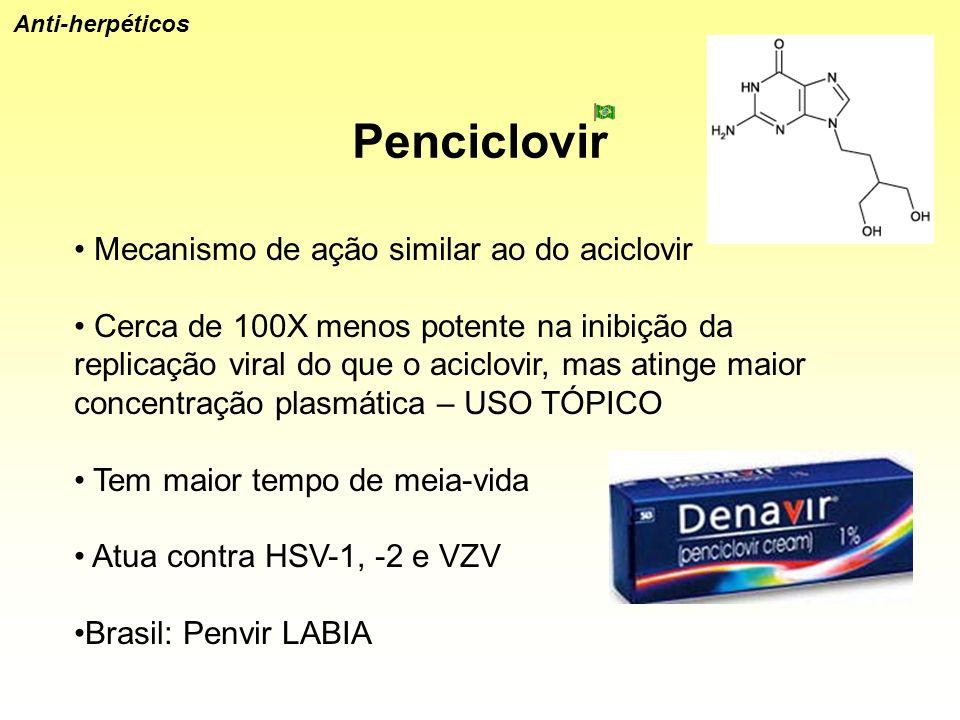 Penciclovir Anti-herpéticos Mecanismo de ação similar ao do aciclovir Cerca de 100X menos potente na inibição da replicação viral do que o aciclovir,
