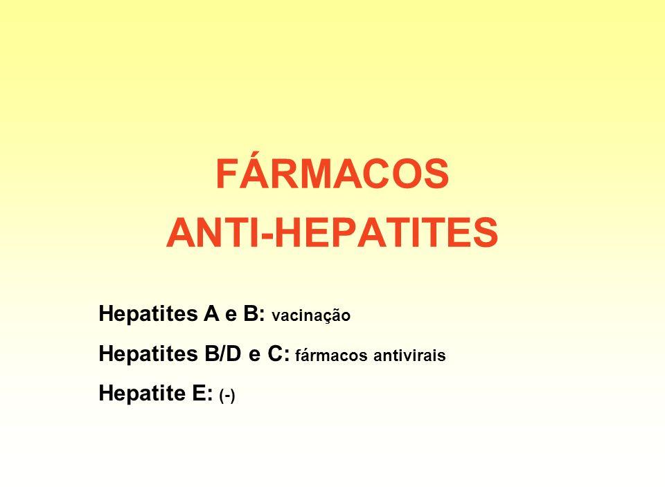 FÁRMACOS ANTI-HEPATITES Hepatites A e B: vacinação Hepatites B/D e C: fármacos antivirais Hepatite E: (-)