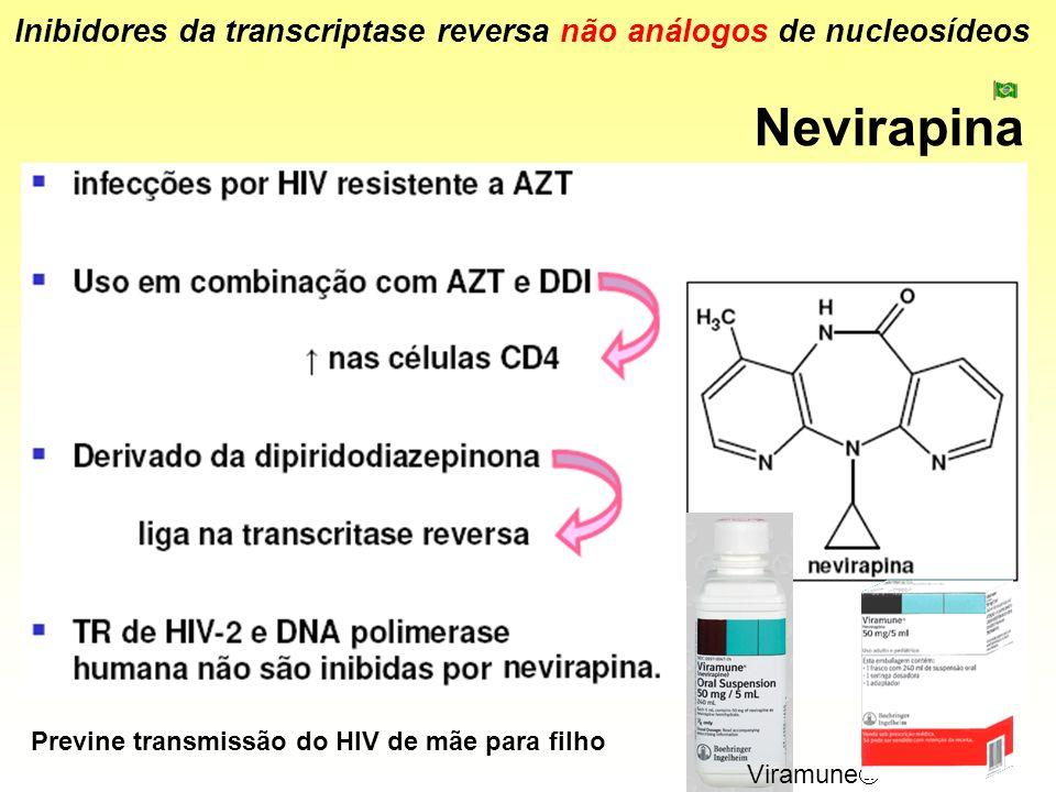 Nevirapina Inibidores da transcriptase reversa não análogos de nucleosídeos Viramune Previne transmissão do HIV de mãe para filho