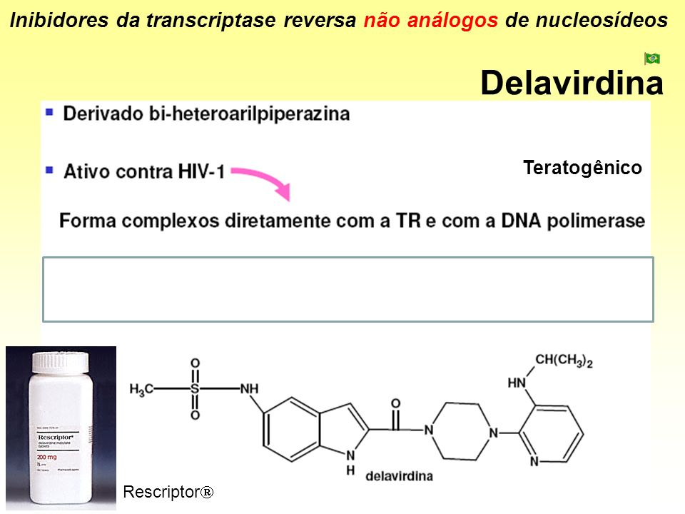 Delavirdina Inibidores da transcriptase reversa não análogos de nucleosídeos Rescriptor Teratogênico