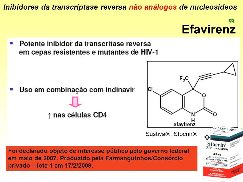 Efavirenz Inibidores da transcriptase reversa não análogos de nucleosídeos Sustiva, Stocrin Foi declarado objeto de interesse público pelo governo fed