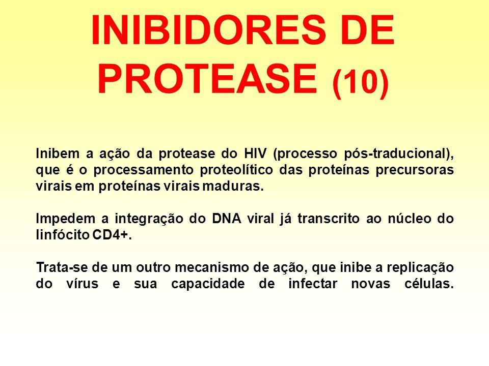 INIBIDORES DE PROTEASE (10) Inibem a ação da protease do HIV (processo pós-traducional), que é o processamento proteolítico das proteínas precursoras