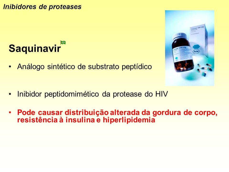 Saquinavir Análogo sintético de substrato peptídico Inibidor peptidomimético da protease do HIV Pode causar distribuição alterada da gordura de corpo,