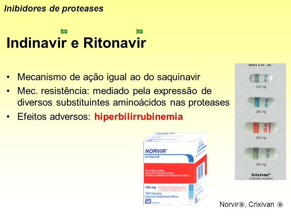 Indinavir e Ritonavir Mecanismo de ação igual ao do saquinavir Mec. resistência: mediado pela expressão de diversos substituintes aminoácidos nas prot