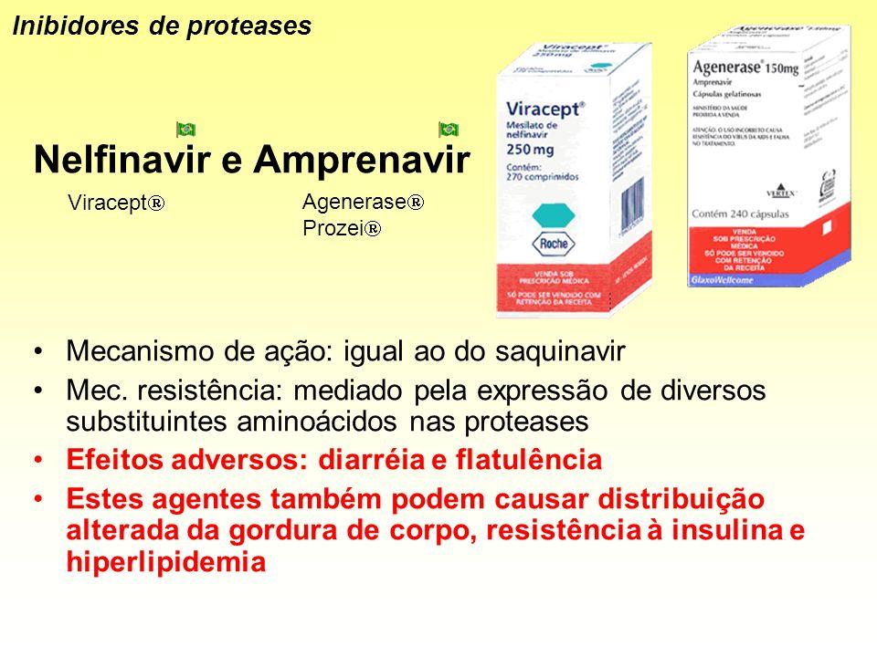 Nelfinavir e Amprenavir Mecanismo de ação: igual ao do saquinavir Mec. resistência: mediado pela expressão de diversos substituintes aminoácidos nas p