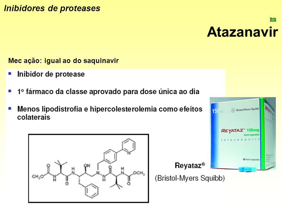 Atazanavir Inibidores de proteases Mec ação: igual ao do saquinavir