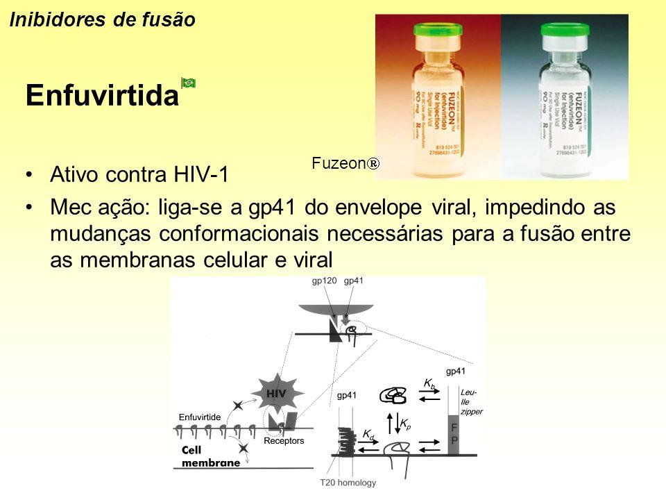 Enfuvirtida Ativo contra HIV-1 Mec ação: liga-se a gp41 do envelope viral, impedindo as mudanças conformacionais necessárias para a fusão entre as mem
