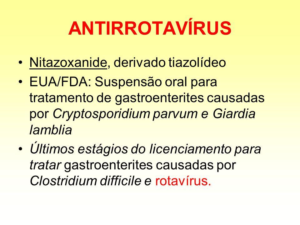 ANTIRROTAVÍRUS Nitazoxanide, derivado tiazolídeo EUA/FDA: Suspensão oral para tratamento de gastroenterites causadas por Cryptosporidium parvum e Giar
