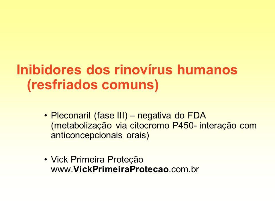 Inibidores dos rinovírus humanos (resfriados comuns) Pleconaril (fase III) – negativa do FDA (metabolização via citocromo P450- interação com anticonc