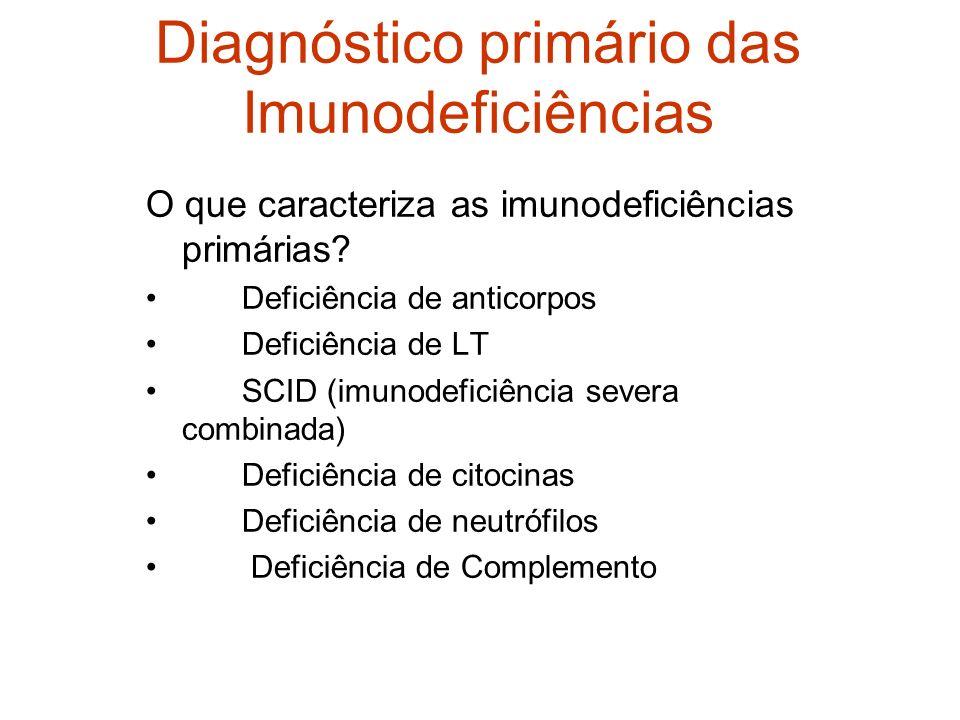 Diagnóstico primário das Imunodeficiências O que caracteriza as imunodeficiências primárias? Deficiência de anticorpos Deficiência de LT SCID (imunode