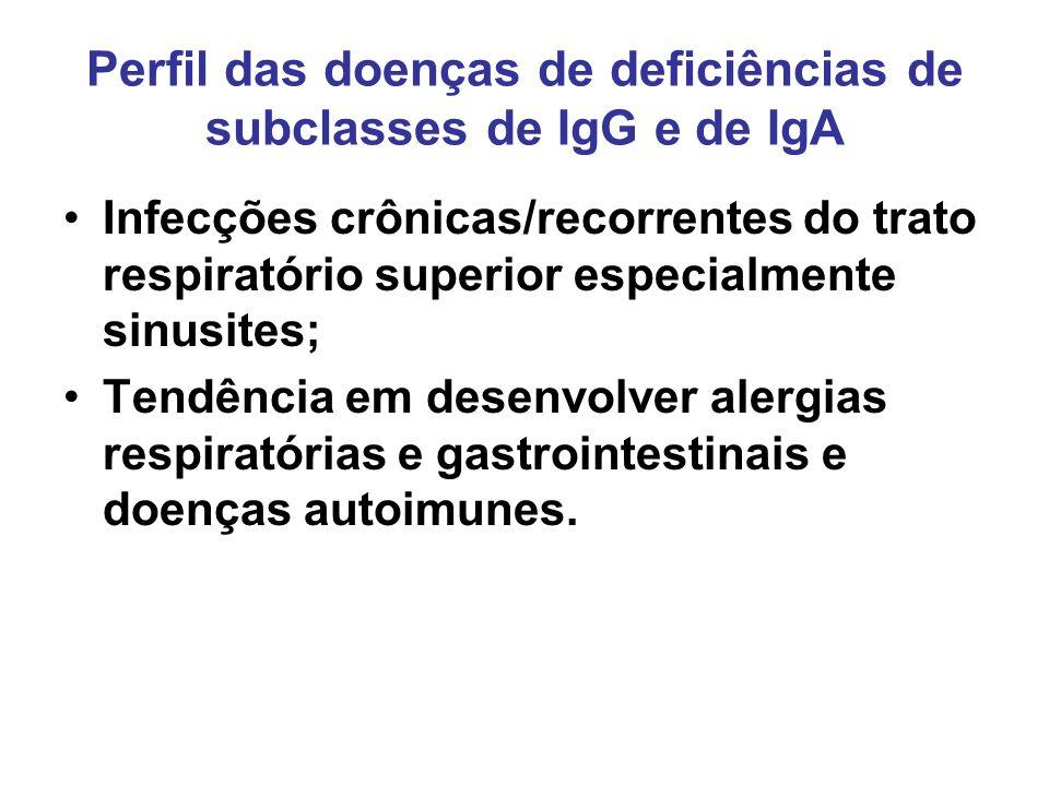 Perfil das doenças de deficiências de subclasses de IgG e de IgA Infecções crônicas/recorrentes do trato respiratório superior especialmente sinusites