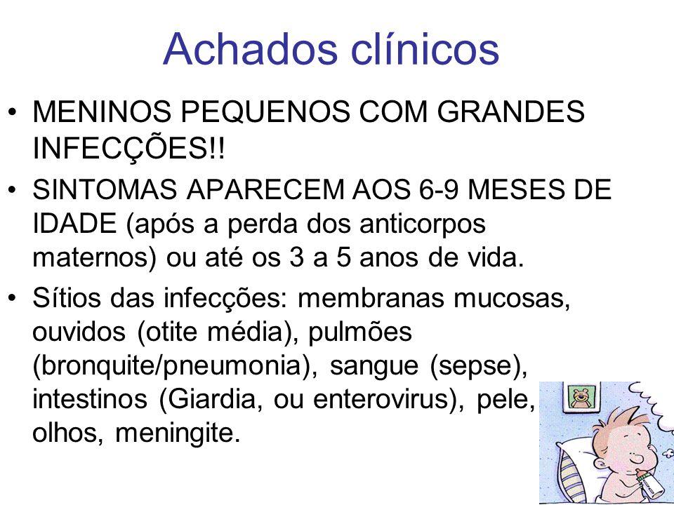 Achados clínicos MENINOS PEQUENOS COM GRANDES INFECÇÕES!! SINTOMAS APARECEM AOS 6-9 MESES DE IDADE (após a perda dos anticorpos maternos) ou até os 3