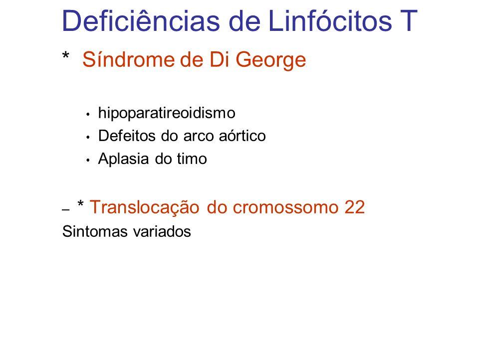 Deficiências de Linfócitos T * Síndrome de Di George hipoparatireoidismo Defeitos do arco aórtico Aplasia do timo – * Translocação do cromossomo 22 Si