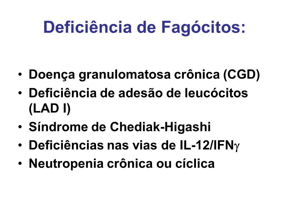 Deficiência de Fagócitos: Doença granulomatosa crônica (CGD) Deficiência de adesão de leucócitos (LAD I) Síndrome de Chediak-Higashi Deficiências nas