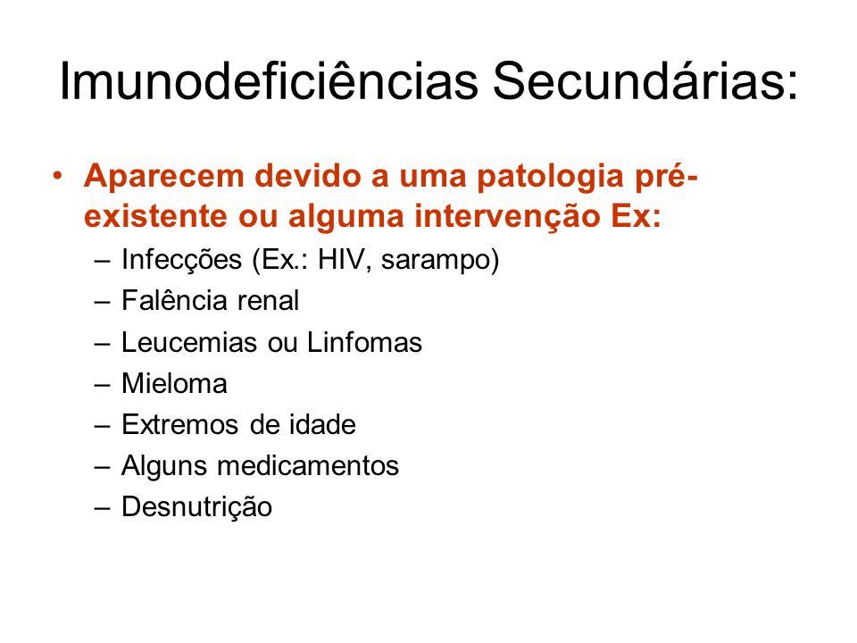 Imunodeficiências Secundárias: Aparecem devido a uma patologia pré- existente ou alguma intervenção Ex: –Infecções (Ex.: HIV, sarampo) –Falência renal