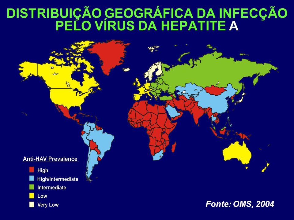 DISTRIBUIÇÃO GEOGRÁFICA DA INFECÇÃO PELO VÍRUS DA HEPATITE A Fonte: OMS, 2004