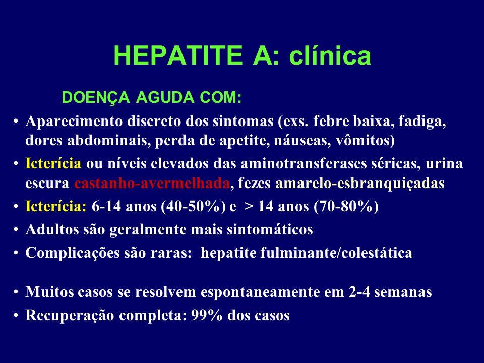 HEPATITE A: clínica DOENÇA AGUDA COM: Aparecimento discreto dos sintomas (exs. febre baixa, fadiga, dores abdominais, perda de apetite, náuseas, vômit