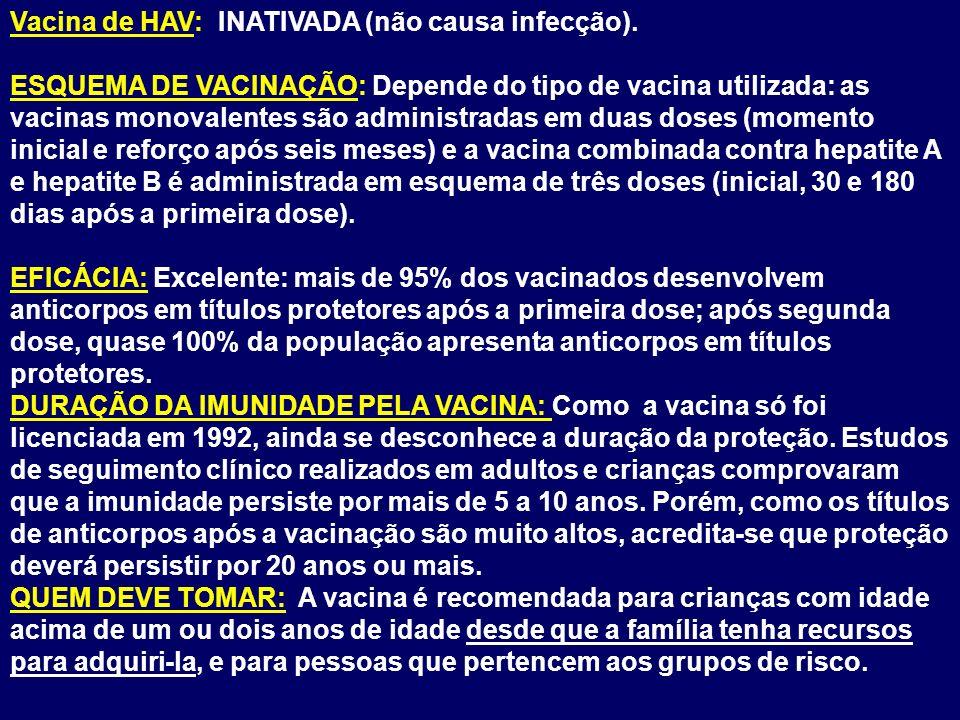 Vacina de HAV: INATIVADA (não causa infecção). ESQUEMA DE VACINAÇÃO: Depende do tipo de vacina utilizada: as vacinas monovalentes são administradas em