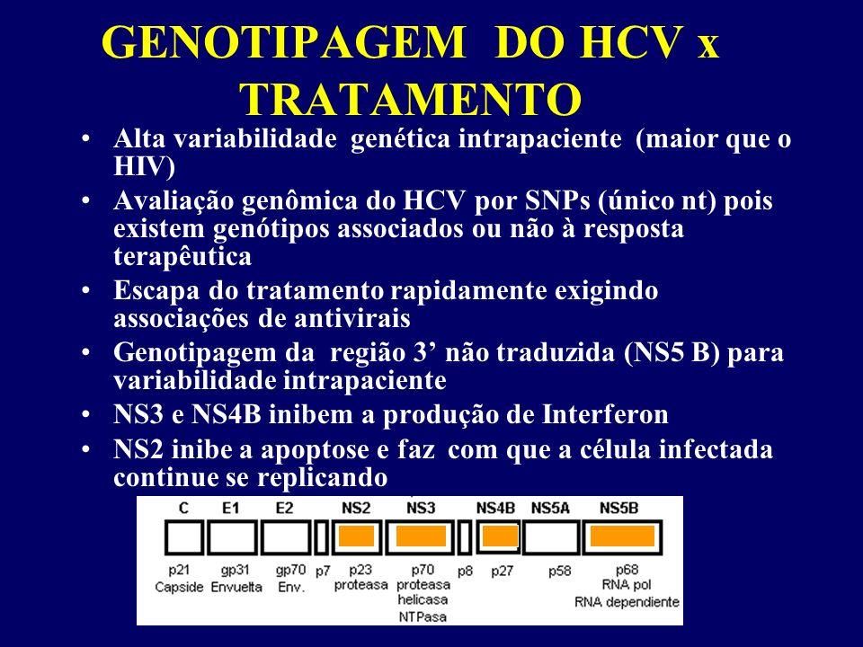 GENOTIPAGEM DO HCV x TRATAMENTO Alta variabilidade genética intrapaciente (maior que o HIV) Avaliação genômica do HCV por SNPs (único nt) pois existem genótipos associados ou não à resposta terapêutica Escapa do tratamento rapidamente exigindo associações de antivirais Genotipagem da região 3 não traduzida (NS5 B) para variabilidade intrapaciente NS3 e NS4B inibem a produção de Interferon NS2 inibe a apoptose e faz com que a célula infectada continue se replicando