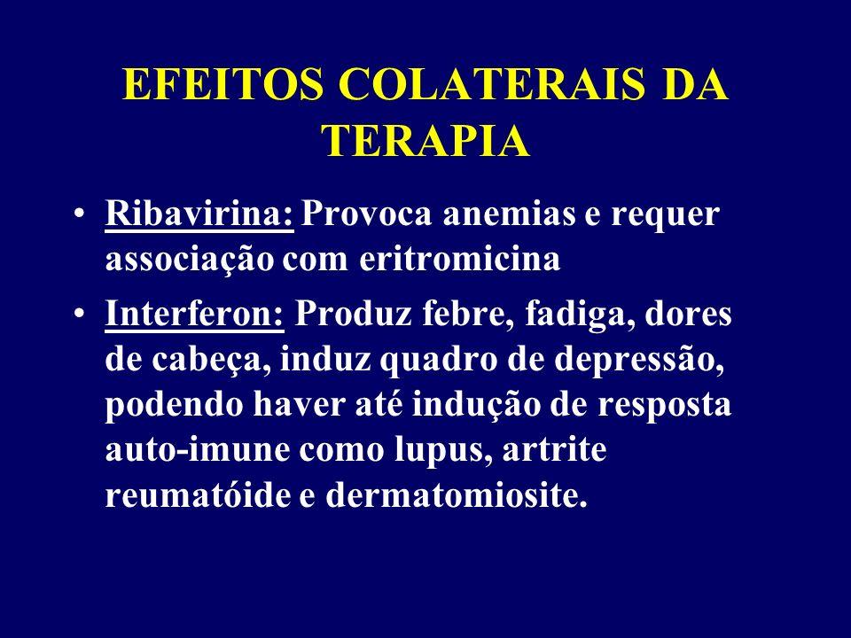EFEITOS COLATERAIS DA TERAPIA Ribavirina: Provoca anemias e requer associação com eritromicina Interferon: Produz febre, fadiga, dores de cabeça, induz quadro de depressão, podendo haver até indução de resposta auto-imune como lupus, artrite reumatóide e dermatomiosite.