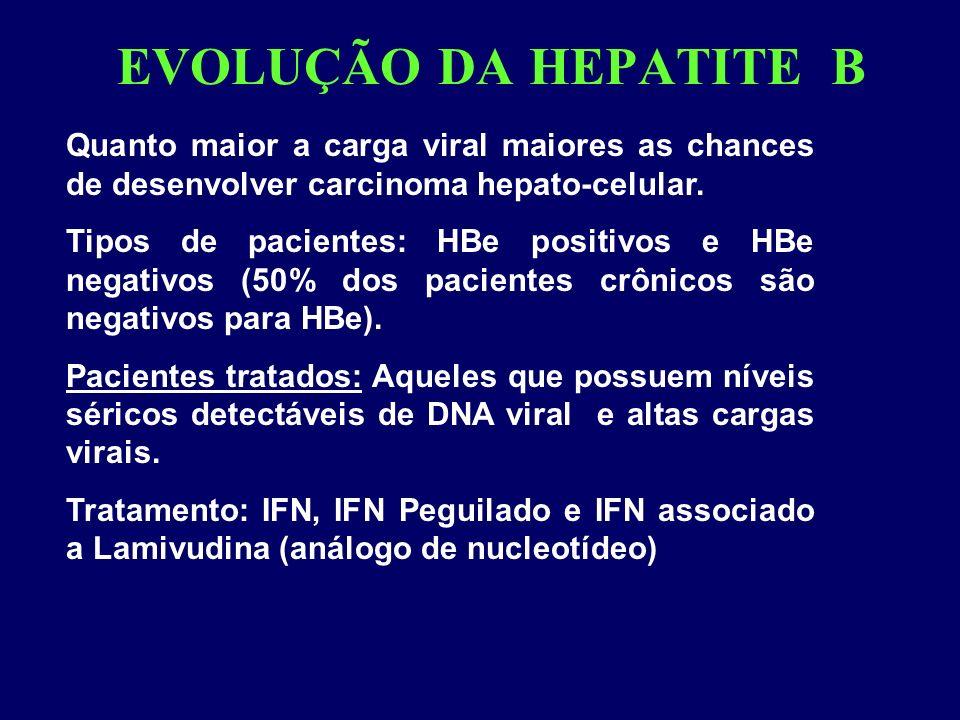 EVOLUÇÃO DA HEPATITE B Quanto maior a carga viral maiores as chances de desenvolver carcinoma hepato-celular. Tipos de pacientes: HBe positivos e HBe