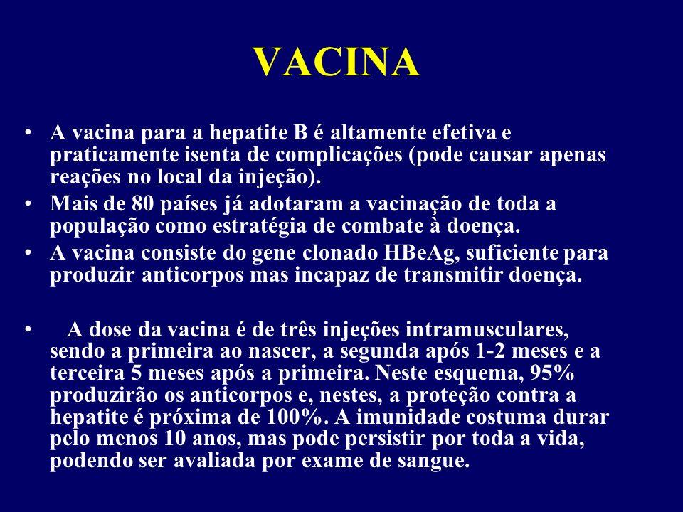 VACINA A vacina para a hepatite B é altamente efetiva e praticamente isenta de complicações (pode causar apenas reações no local da injeção).