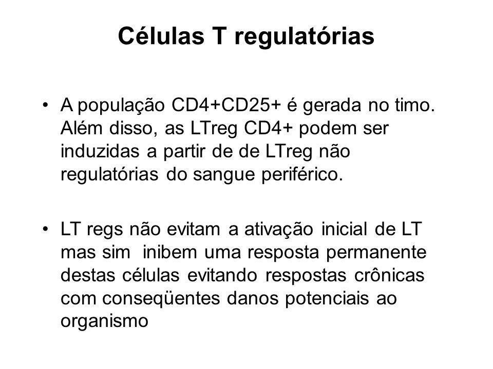 Células T regulatórias A população CD4+CD25+ é gerada no timo. Além disso, as LTreg CD4+ podem ser induzidas a partir de de LTreg não regulatórias do
