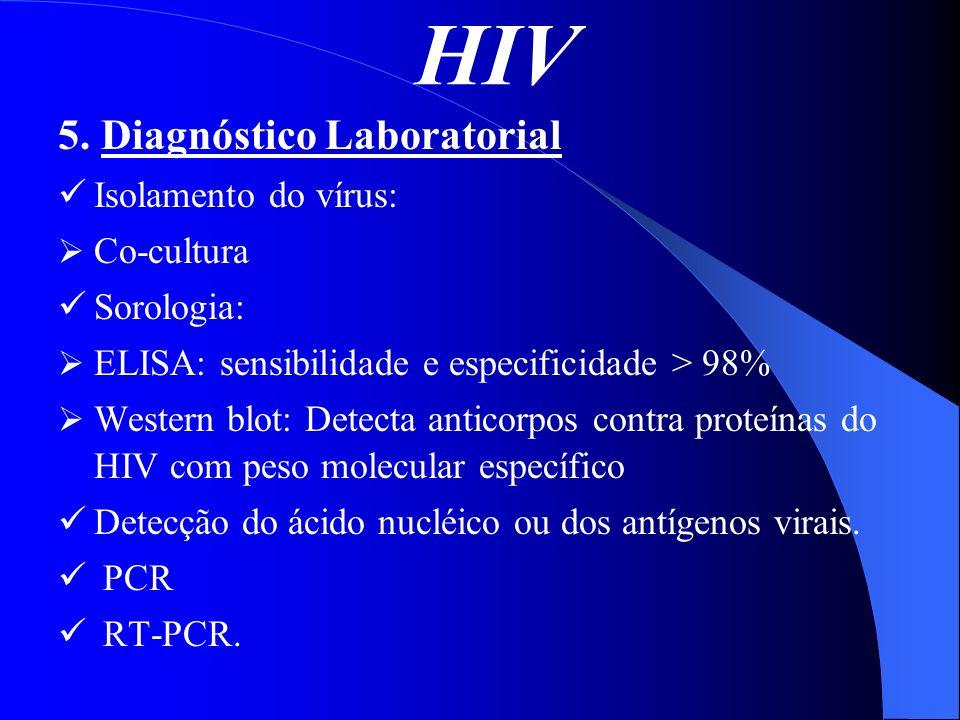 HIV 5. Diagnóstico Laboratorial Isolamento do vírus: Co-cultura Sorologia: ELISA: sensibilidade e especificidade > 98% Western blot: Detecta anticorpo