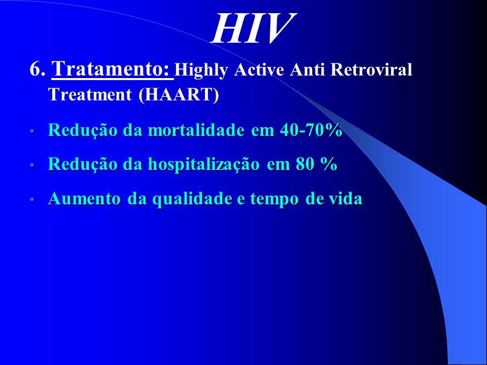 HIV 6. Tratamento: Highly Active Anti Retroviral Treatment (HAART) Redução da mortalidade em 40-70% Redução da mortalidade em 40-70% Redução da hospit