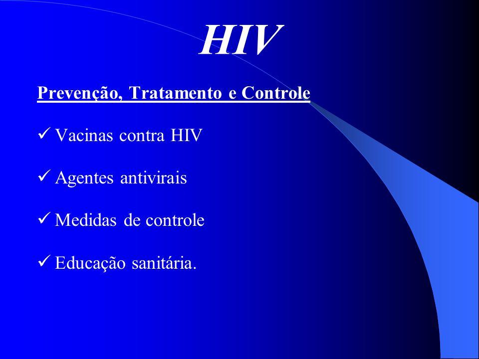 HIV Prevenção, Tratamento e Controle Vacinas contra HIV Agentes antivirais Medidas de controle Educação sanitária.