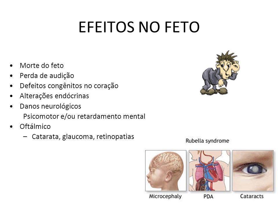45 EFEITOS NO FETO Morte do feto Perda de audição Defeitos congênitos no coração Alterações endócrinas Danos neurológicos Psicomotor e/ou retardamento