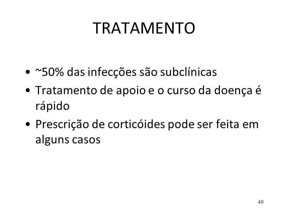 49 TRATAMENTO ~50% das infecções são subclínicas Tratamento de apoio e o curso da doença é rápido Prescrição de corticóides pode ser feita em alguns c