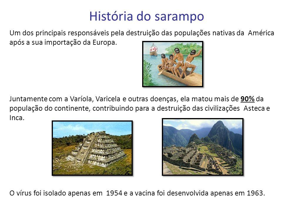 História do sarampo Um dos principais responsáveis pela destruição das populações nativas da América após a sua importação da Europa. Juntamente com a