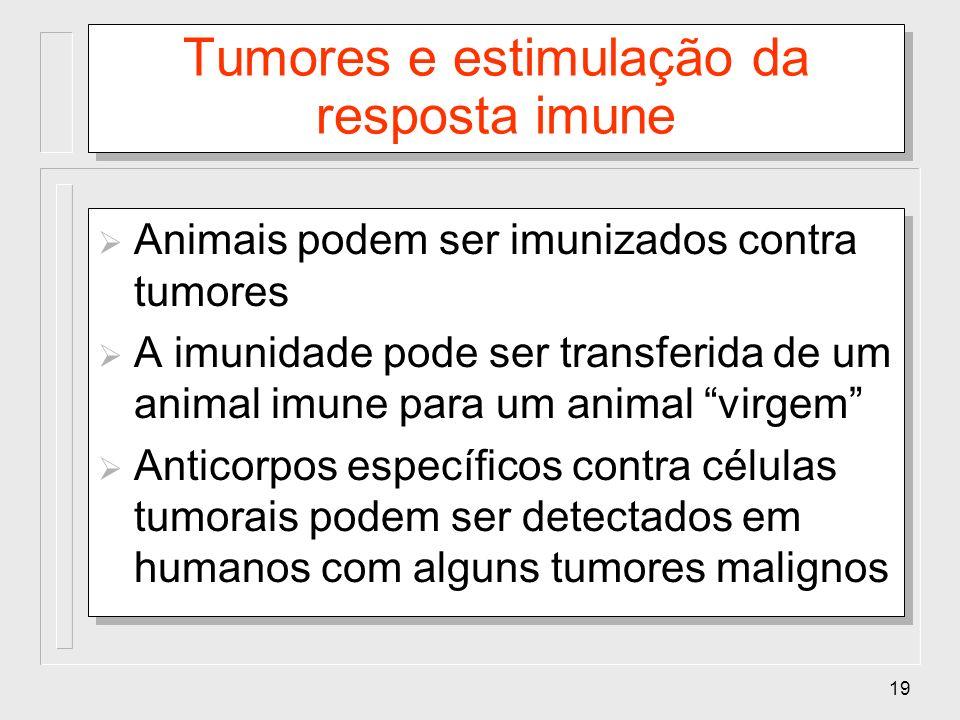 19 Tumores e estimulação da resposta imune Animais podem ser imunizados contra tumores A imunidade pode ser transferida de um animal imune para um ani
