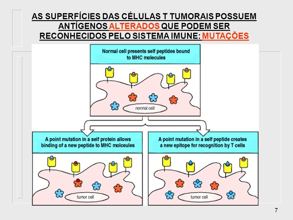 18 Imunidade contra tumores Todos os componentes da imunidade específica (humoral e celular) e da imunidade inata influenciam na progressão e crescimento de um tumor