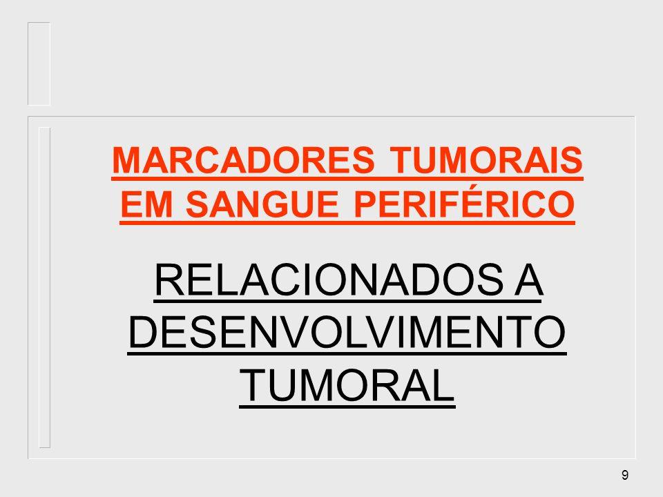 10 MARCADORES TUMORAIS EM SANGUE PERIFÉRICO Alfa fetoproteína (AFP) (células hepáticas fetais, hepatoma primário, neoplasias germinativas, carcinomas de ovário e testículo); Antígeno cárcino-embriônico (CEA) (ca colon e tecido normal fetal de intestino, pancrêas e fígado); SUBUNIDADE DA GONADOTROFINA CORIÔNICA ( -HCG), (gestação, neoplasia trofoblástica gestacional, carcinomas de testículo); ANTÍGENO PROSTÁTICO ESPECÍFICO (PSA), (células epiteliais prostáticas normais, câncer de próstata, monitoramento); CA 125 (ca ovário, processo inflamatório peritonial).