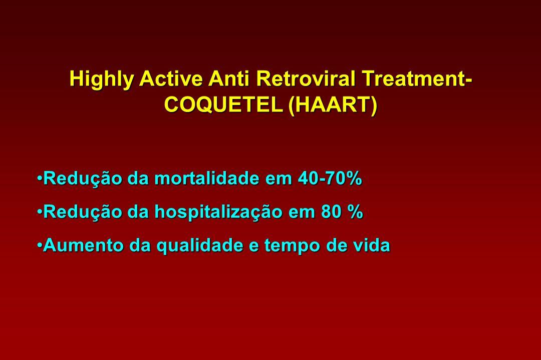 Highly Active Anti Retroviral Treatment- COQUETEL (HAART) Redução da mortalidade em 40-70%Redução da mortalidade em 40-70% Redução da hospitalização e