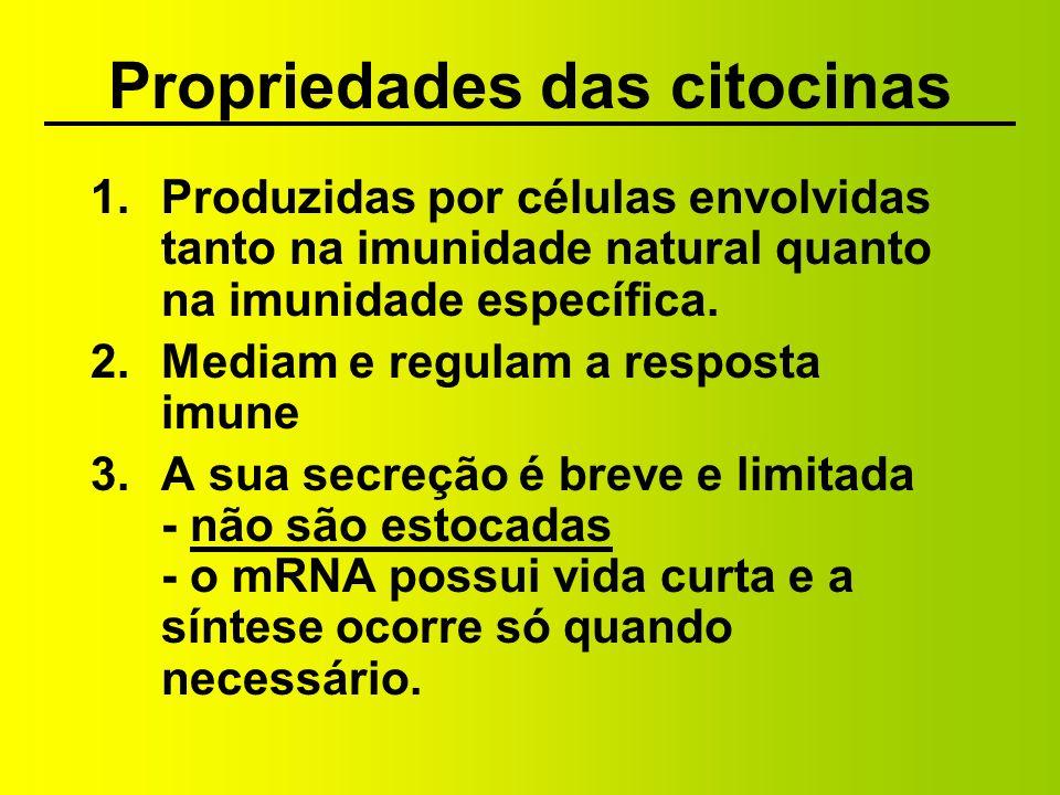 Propriedades das citocinas (contin.) 4.Podem ser produzidas por muitos tipos celulares e agem em muitos tipos celulares (pleiotrópicas) 5.Podem possuir ações similares (redundantes)