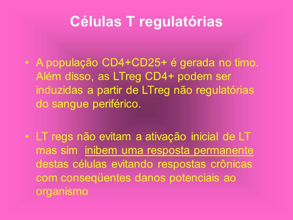 Células T regulatórias A população CD4+CD25+ é gerada no timo. Além disso, as LTreg CD4+ podem ser induzidas a partir de LTreg não regulatórias do san