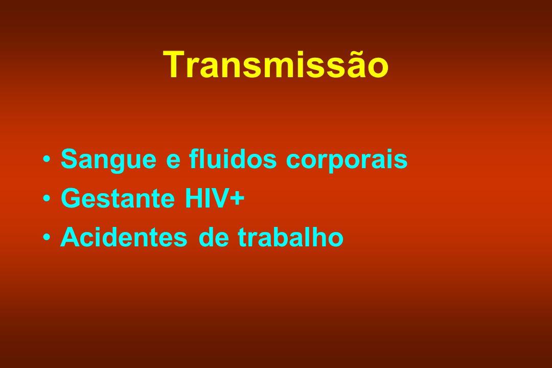 Transmissão Sangue e fluidos corporais Gestante HIV+ Acidentes de trabalho