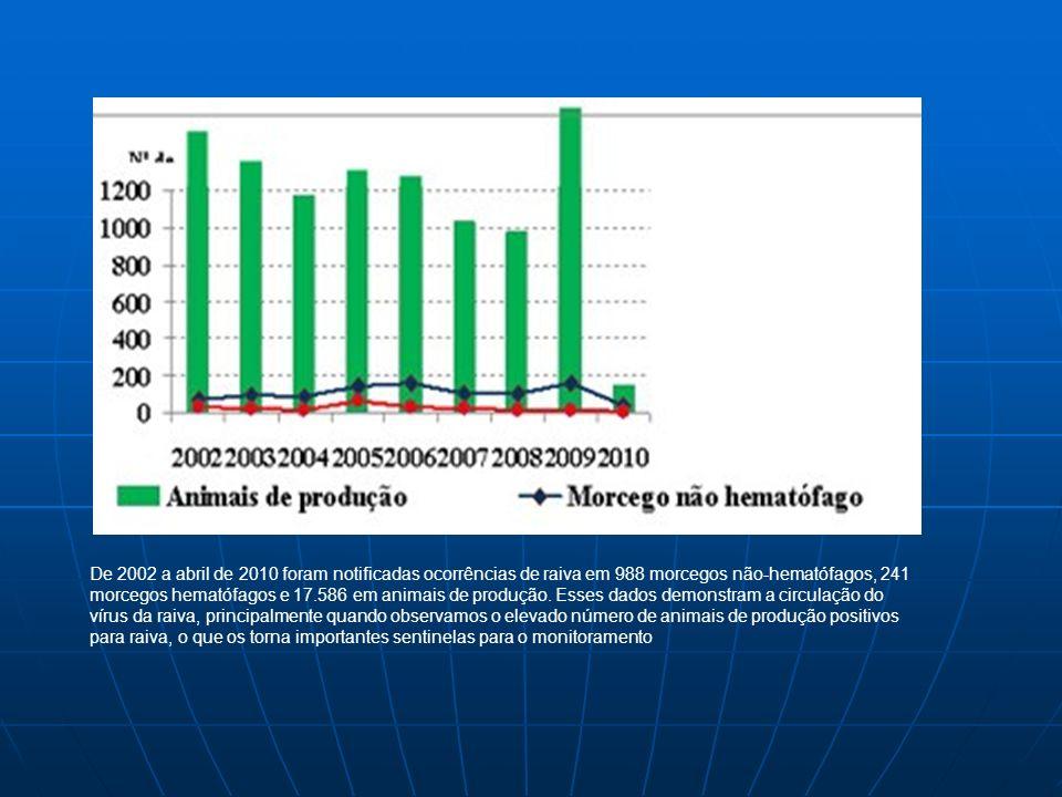 De 2002 a abril de 2010 foram notificadas ocorrências de raiva em 988 morcegos não-hematófagos, 241 morcegos hematófagos e 17.586 em animais de produç