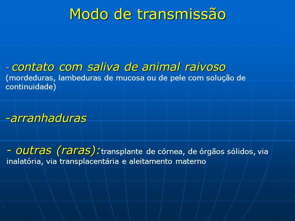 Modo de transmissão - contato com saliva de animal raivoso (mordeduras, lambeduras de mucosa ou de pele com solução de continuidade) -arranhaduras - o