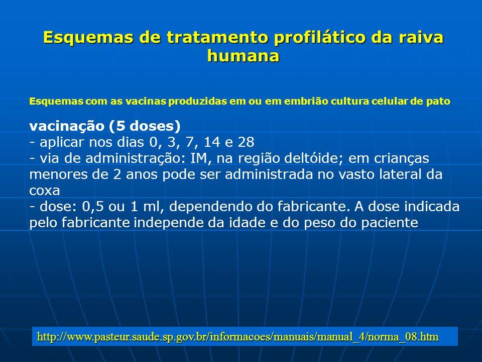 Esquemas de tratamento profilático da raiva humana Esquemas com as vacinas produzidas em ou em embrião cultura celular de pato vacinação (5 doses) - a
